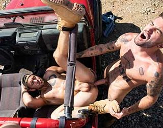 Chris Damned and Dante Colle are out in the middle of the desert off-roading. When they get to the end of the trail, the testosterone is racing through their veins and they waste no time...