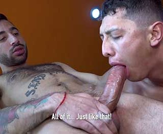 Joss Camejo finds out a blow job from Galaxy Boy is just great... in fact, it's out of this world. Joss has got the perfect uncut dick with just the slightest...