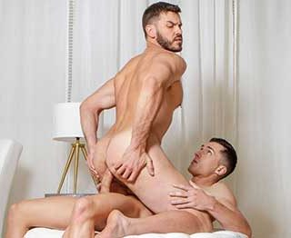 When Tristan Hunter gets together with Vander Pulaski, it's an instant connection that leads to heavy kissing and Vander sinking to his knees to suck on Tristan's meaty cock.