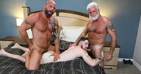 AJ Marshall stepped into the room and watched Jake Marshall fucking Nick Milani. Jake leaves the room and lets AJ fuck that smooth College ass.