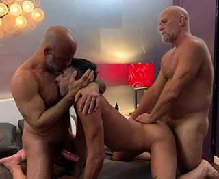 Part 1 - Daddy @mrjakemitchell came over to help me dominate boy @zacsnowxxx . This was one rough fuck...throat fucking, cbt, big dildo play and some good old hard fucking by two daddies whop mean business.