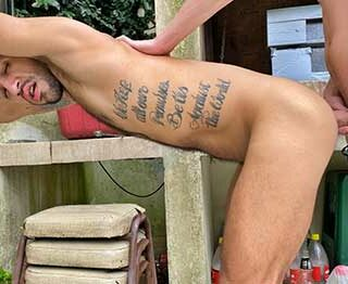 I saw these guys hard at work outside and figured they might like a break, especially after I offered them some cash to suck my dick. It made me so hard watching this tattooed hunk suck my cock...